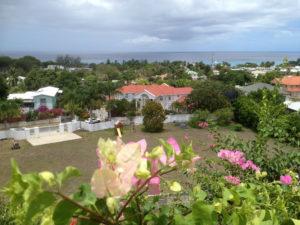 Villa ocean view from front of garden looking West